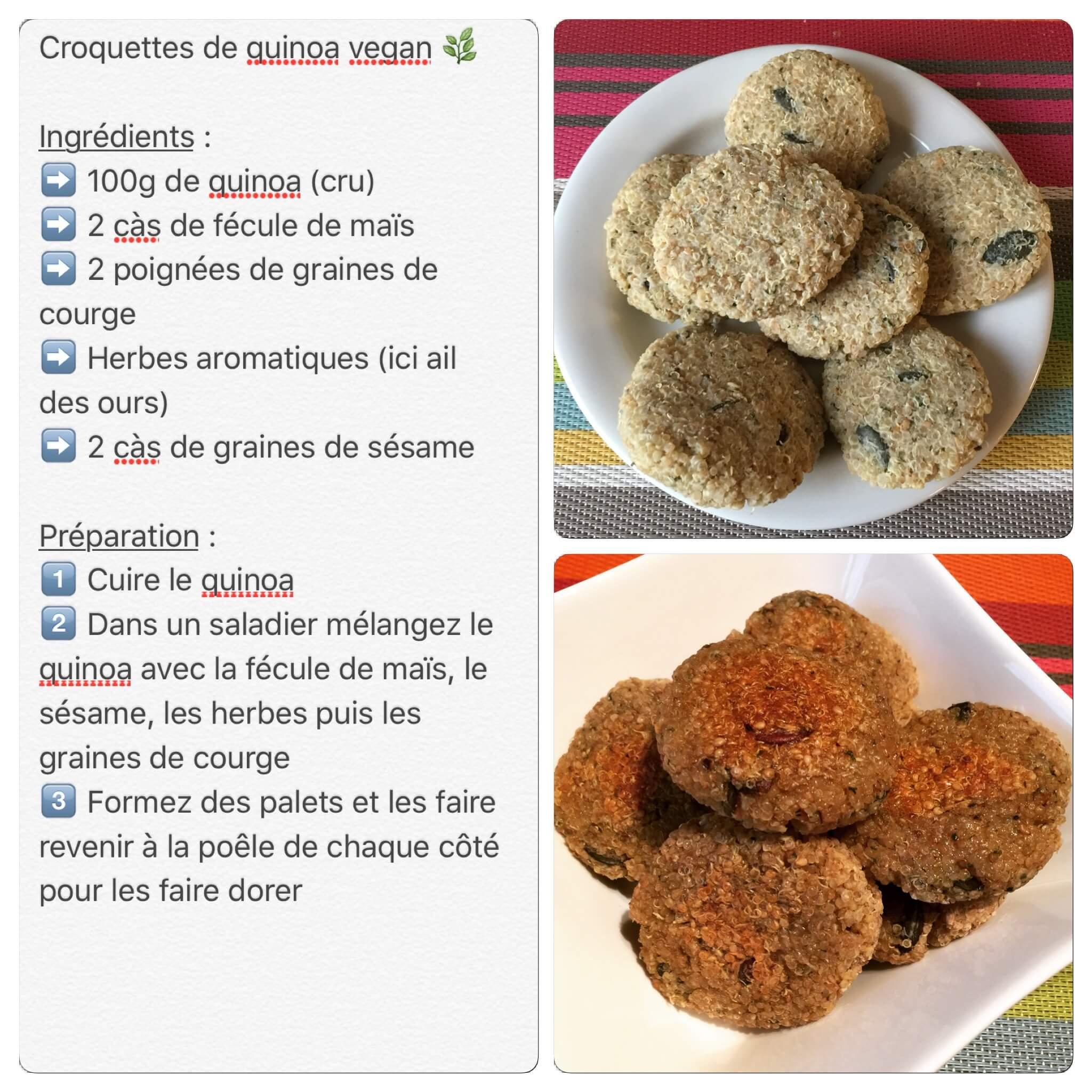 Recette de croquettes de quinoa et graines courge vegan