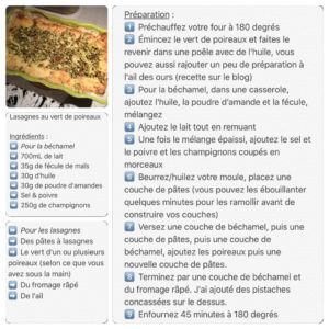 Recette de lasagnes au vert de poireaux