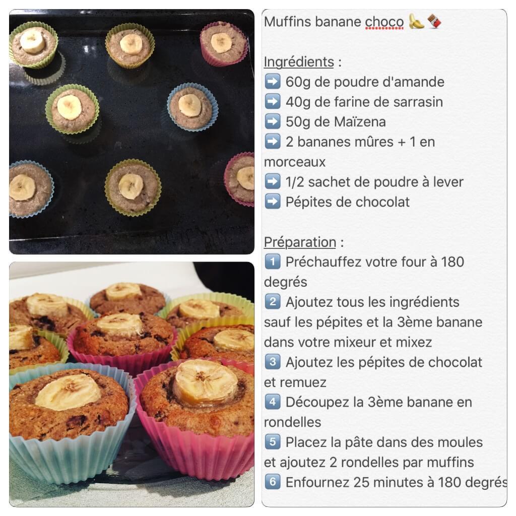 Recette de muffin banane / chocolat sans gluten et sans lactose