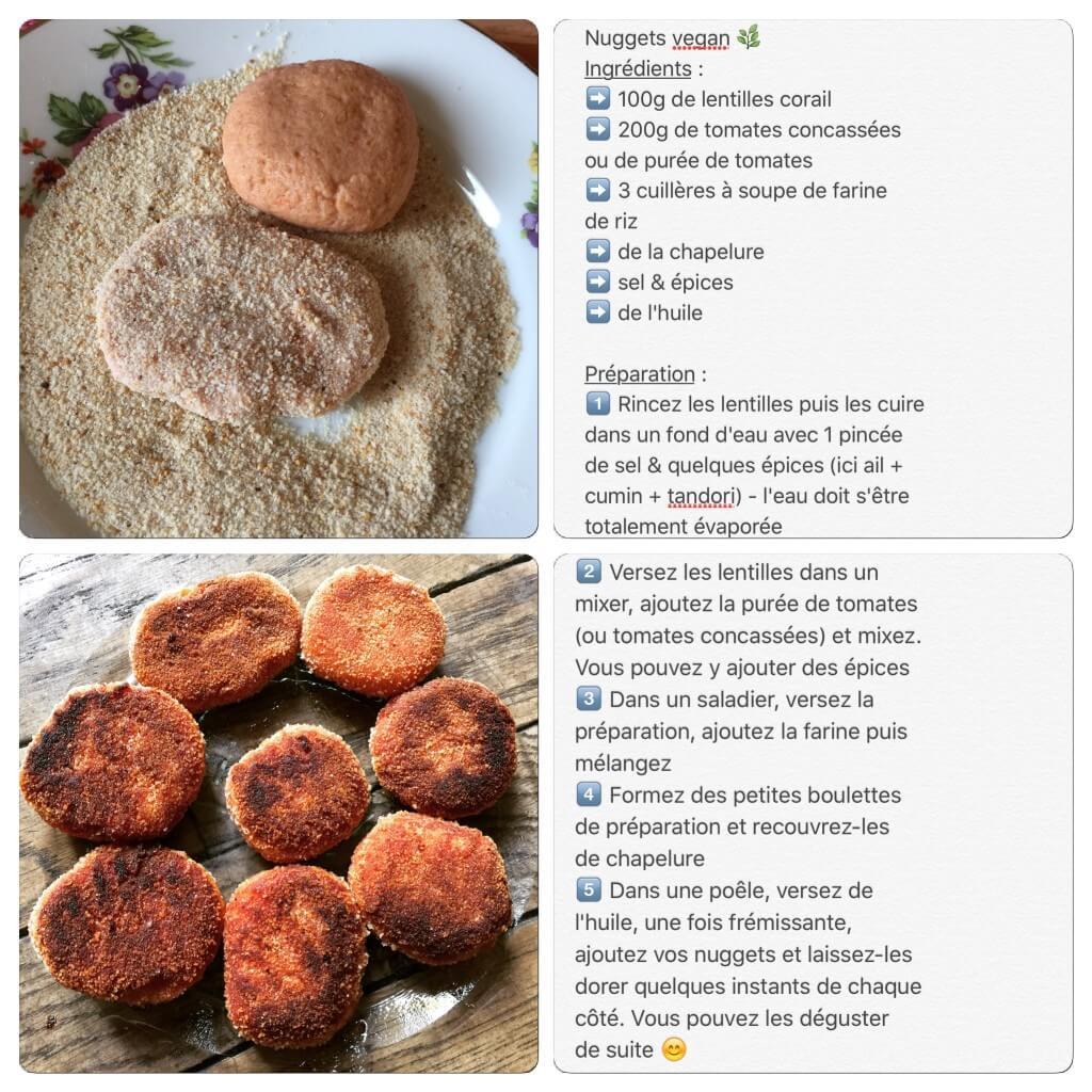 Recette de nuggets vegan avec lentilles corail