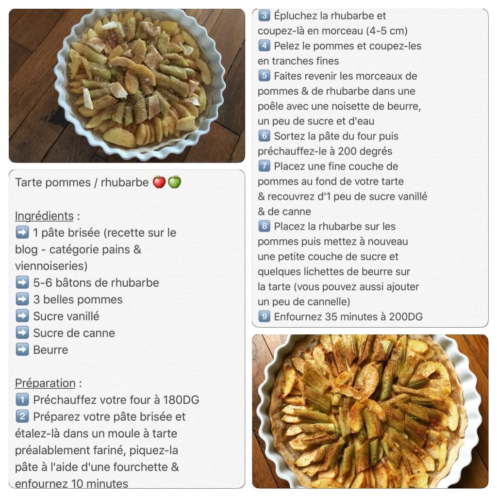 Recette de tarte aux pommes et à la rhubarbe