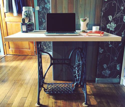 DIY : tranformer une machine à coudre Singer en bureau