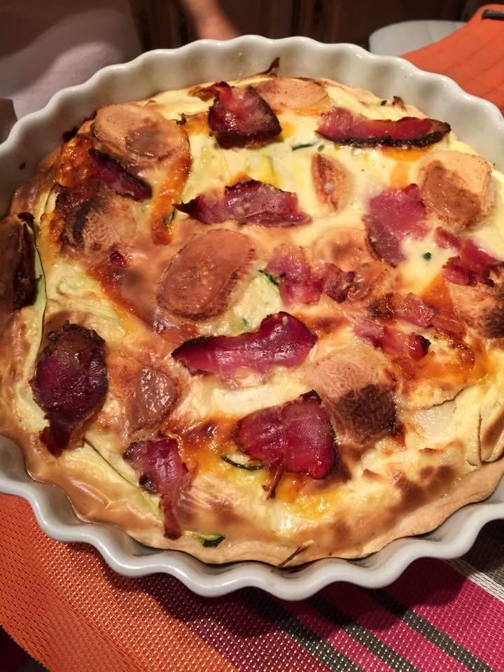 Recette tarte spec fromage et légumes