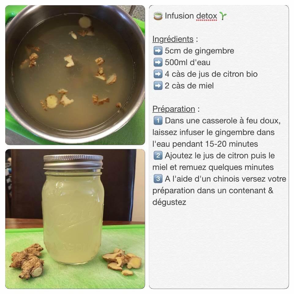 Boisson detox au gingembre, miel et citron