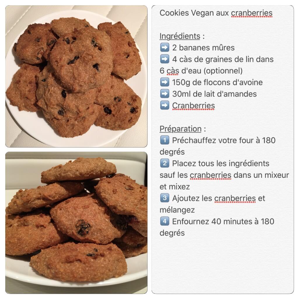 Recette de cookie vegan aux cranberries
