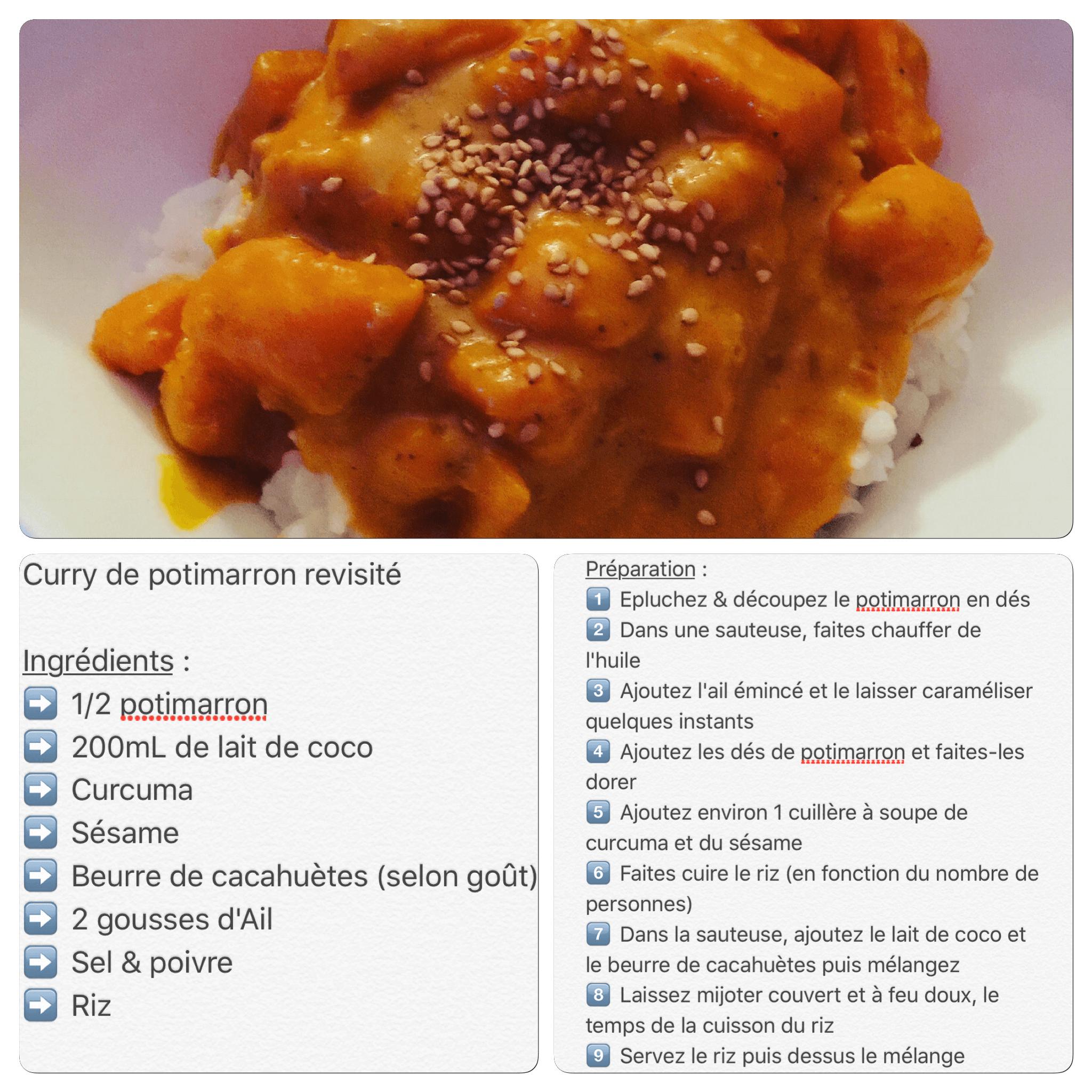 Recette de curry de potimarron