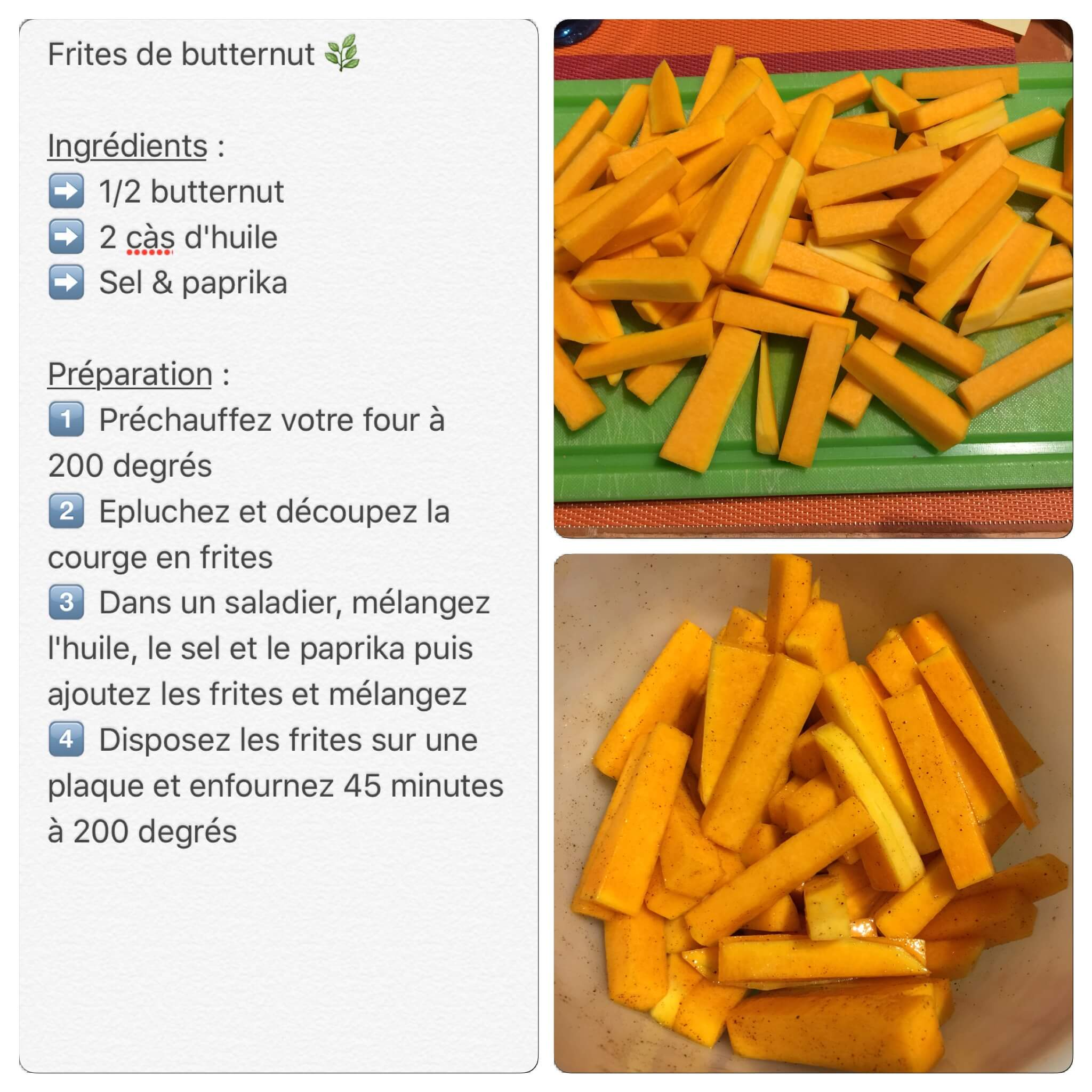 Recette de frites de butternut
