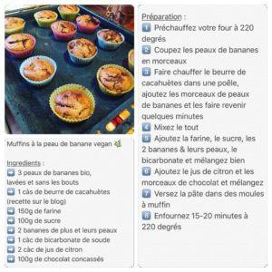 Recette de muffins vegan aux peaux de banane