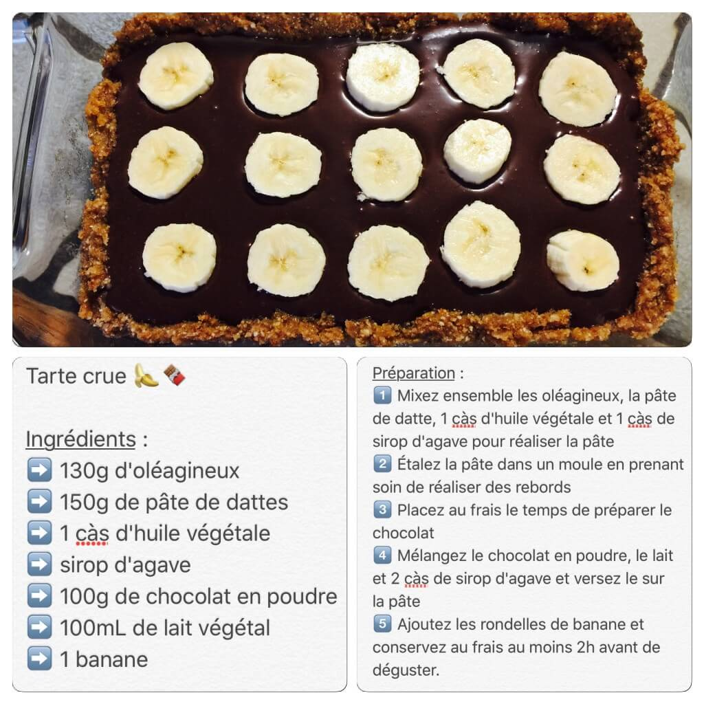 Recette de tarte cru banane et chocolat