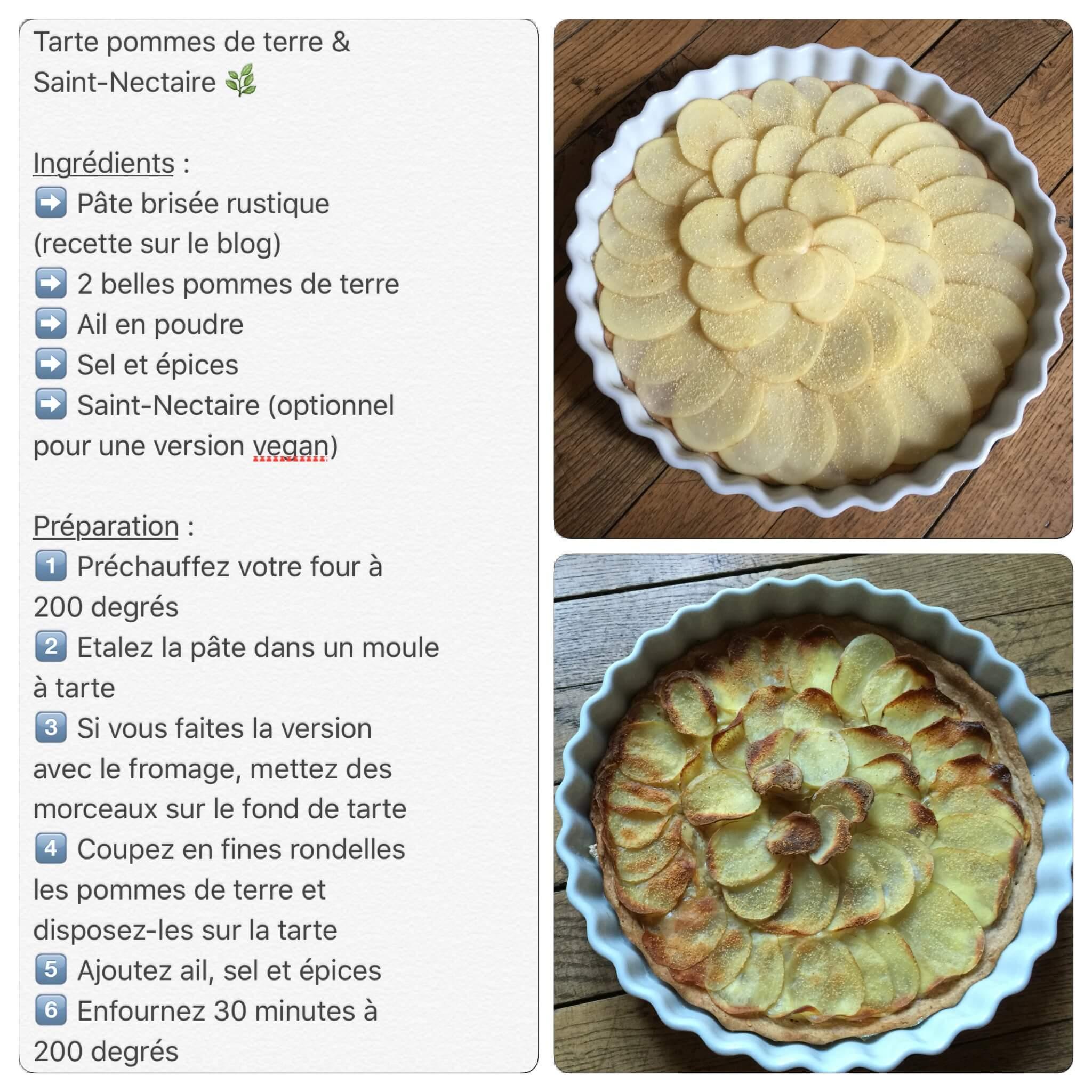 Recette de tarte rustique aux pommes de terre et Saint-Nectaire