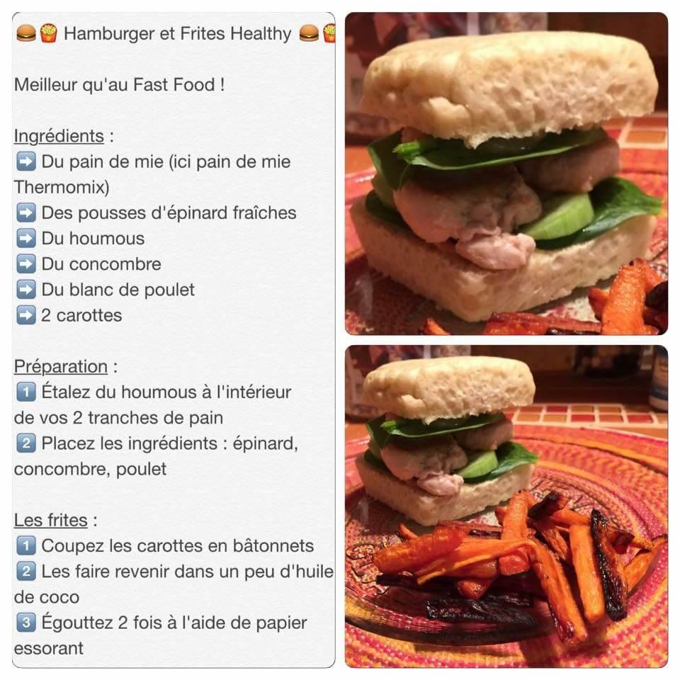Sandwich fait maison avec frites de carottes