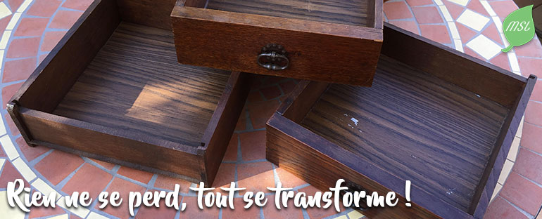 Upcycling de tiroirs en bois